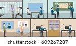police station interior set... | Shutterstock . vector #609267287