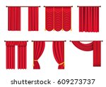heavy drapes of red fabric with ... | Shutterstock .eps vector #609273737