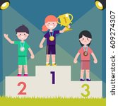 sport kids on pedestal with... | Shutterstock .eps vector #609274307