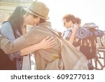 meeting of a group of friends... | Shutterstock . vector #609277013