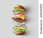 burger ingredients against... | Shutterstock . vector #609296093