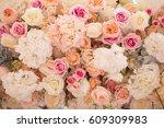 wedding flower composition on... | Shutterstock . vector #609309983