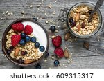 homemade granola with greek... | Shutterstock . vector #609315317