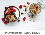 homemade yogurt with oat... | Shutterstock . vector #609315323