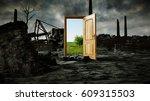 opened door. a portal between... | Shutterstock . vector #609315503