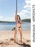 brunette dancer in bathing suit ... | Shutterstock . vector #609324173