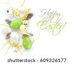 easter eggs and mimosa flowers... | Shutterstock . vector #609326177