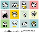 set of 12 cards with doodle... | Shutterstock .eps vector #609326237
