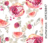 watercolor exotic fruits... | Shutterstock . vector #609328847