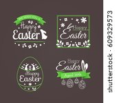 vector set of cute badges and... | Shutterstock .eps vector #609329573