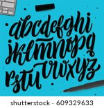brush style alphabet set. hand... | Shutterstock .eps vector #609329633