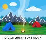 meadow with grass and camping.... | Shutterstock .eps vector #609330077