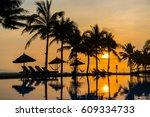 sunrise at the beach in hoi an... | Shutterstock . vector #609334733
