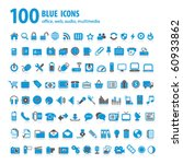 hundred blue icons | Shutterstock .eps vector #60933862