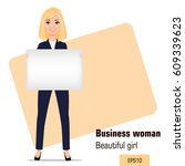 young cartoon businesswoman...   Shutterstock .eps vector #609339623
