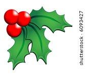 christmas holly ornament over... | Shutterstock .eps vector #6093427