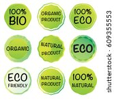 set of 100  organic product... | Shutterstock .eps vector #609355553
