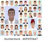 portraits of different people ... | Shutterstock .eps vector #609355667