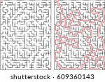 maze labyrinth vector... | Shutterstock .eps vector #609360143