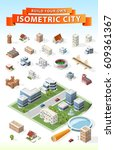 build your own isometric city . ... | Shutterstock .eps vector #609361367