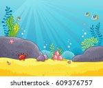 marine background. vector... | Shutterstock .eps vector #609376757