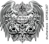 gothic coat of arms with skull... | Shutterstock .eps vector #609381287