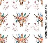 watercolor boho skull boho...   Shutterstock . vector #609386543