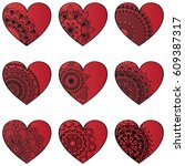 hearts with ethnic mandala... | Shutterstock .eps vector #609387317