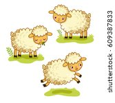 cute cartoon sheep set.... | Shutterstock .eps vector #609387833