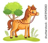 Stock vector cartoon horse standing in a meadow next to a tree vector illustration with cartoon animals 609390083