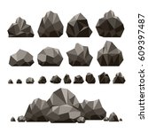 stones and rocks 3d isometric... | Shutterstock .eps vector #609397487