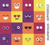 smiley   modern vector set of... | Shutterstock .eps vector #609400013