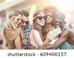 can we take a selfie first  | Shutterstock . vector #609400157