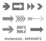 vector halftone arrows.dotted... | Shutterstock .eps vector #609404873