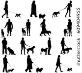 set ilhouette of people and dog.... | Shutterstock . vector #609404933