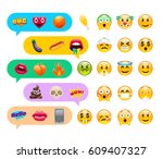 abstract cute funny emoji... | Shutterstock .eps vector #609407327