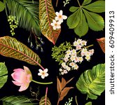 Vector Tropical Plants Seamles...