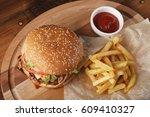 cheeseburger  burger  with... | Shutterstock . vector #609410327