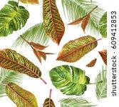 vector tropical leaves seamless ... | Shutterstock .eps vector #609412853