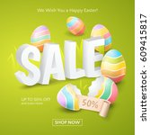 poster for easter sale with 3d... | Shutterstock .eps vector #609415817