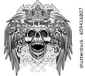 gothic coat of arms with skull... | Shutterstock .eps vector #609416807