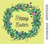 beautiful easter wreath  from... | Shutterstock .eps vector #609419243
