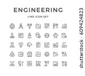 set line icons of engineering   Shutterstock .eps vector #609424823