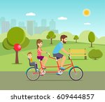 happy family rides on tandem... | Shutterstock .eps vector #609444857