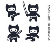Stock vector cute cartoon ninja cat set adorable vector black and white drawings in simple modern japanese 609446423