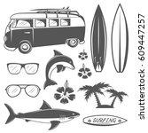 set of vintage surfing design... | Shutterstock .eps vector #609447257