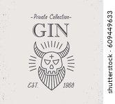 vintage gin label design with...   Shutterstock .eps vector #609449633