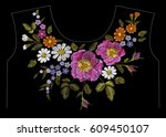 embroidery color floral pattern ... | Shutterstock .eps vector #609450107