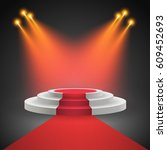 red carpet with round podium.... | Shutterstock .eps vector #609452693