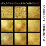 set of gold triangular... | Shutterstock . vector #609455903
